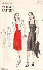 1940's Side Button Sun Dress and Bolero Vogue 5416 Pattern B34
