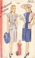 1940's Hollywood 1539 Saddle Pockets Dress Pattern B32