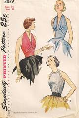 1950's Vintage Halter and Blouse Simplicity 3839 Pattern 32