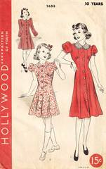 1930's Hollywood Frock Pattern 1653 Girls Size 10