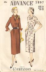Concealed Front Zipper Dress 1940's Advance 5897 Pattern 32