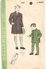 1930's Hollywood Boys Double Breasted Overcoat Pattern Sz 6