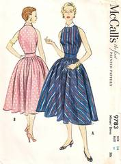 Vintage 50's McCall's 9783 Cut-away Armholes Dress Pattern 32