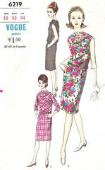 Vogue 6219 Early 1970's Two Piece Dress Pattern B32