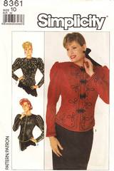 80's Simplicity 8361 Fitted Jacket Pattern Bust 32.5