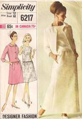 1960's Jacket and Two Piece Dress Pattern Bust 32