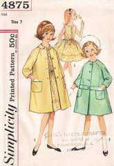 1950's Girls Dress and Coat Simplicity Pattern 4875 Size 7