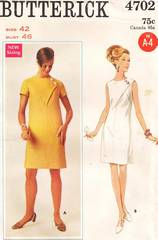1960's Butterick 4702 Bodice Seam Detail Dress Pattern Bust 46