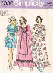1970's Simplicity 6036 Peasant Dress, Gown Pattern Bust 33.5