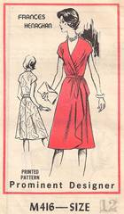 1970's Frances Henaghan Front Wrap Dress Pattern Bust 34