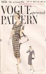 1950's Vogue 9456 Slim Dress Pattern Bust 34