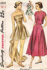 1940's Simplicity 2834 Bathing Suit, Skirt, Bolero Pattern B32