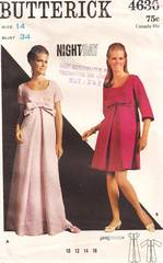 1960's Inverted Pleat Empire A-line Dress, Gown Pattern B34