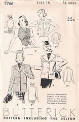 1930's Butterick Deltor 7766 Jacket and Waistcoat Pattern B34