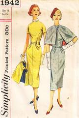 1950's Simplicity 1942 Town-Going Ensemble Pattern Bust 34