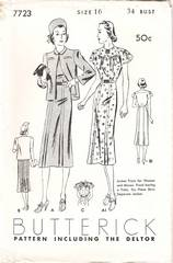 1930's Butterick Deltor Pattern 7723 Day Dress, Jacket Bust 34