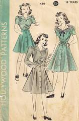 1930's Hollywood 450 Girls Flared Skirt Dress Pattern Size 10