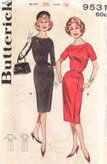 1960's Butterick 9531 Hip Yoke Wrap Effect Dress Pattern B36