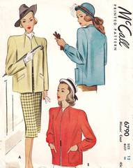 1940's McCall 6790 Short Coat Pattern B30