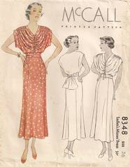 1930's McCall 8348 Gather Detail Dress Pattern B36