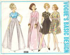 1960's Vogue 2236 Basic Design Dress, Gown Pattern B34