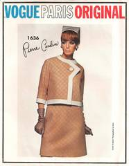 Pierre Cardin 1960's Vogue 1636 Suit, Blouse Pattern B34