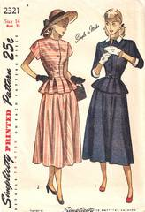 1940's Simplicity 2321 Two Piece Peplum Dress Pattern B32