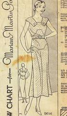 1930's Deco Line Dress with Shoulder Capes Pattern B40