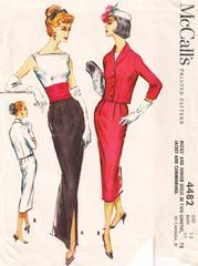 50's McCall's 4482 V-Back Slim Gown, Dress and Jacket Pattern