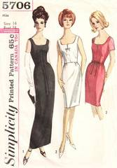 1960's Simplicity 5709 Slim Evening Cocktail Dress Pattern B34