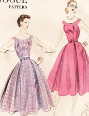 1950's Banded Neckline Vogue 7680 Dress Pattern B30