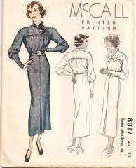 1930's McCall 8017 Dress Pattern Bust 31