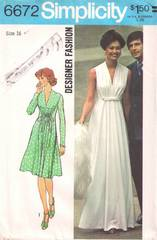 1970's Simplicity 6672 Grecian Style Gown, Dress Pattern B38