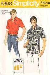 1970's Mens Comb Pocket Shirt Simplicity 6368 Pattern X-Large