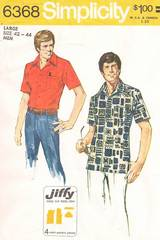 1970's Mens Comb Pocket Shirt Simplicity 6368 Pattern 42-44