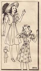 Vintage 1930's Girls Dress and Bolero Pattern 3853 Size 12