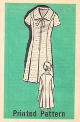 1960's Front Zip, Pleat Detail Dress Pattern Bust 45
