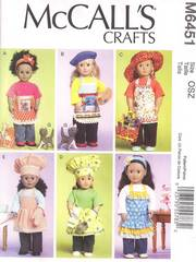"McCall's 6451 Doll Clothes, Bag, Cat Pattern for 18"" Dolls"