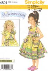 Simplicity 4621 Daisy Kingdom Dress, Jacket, Purse Pattern 3-6