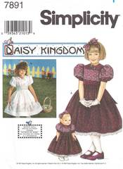 Simplicity 7891 Daisy Kingdom Girls and Doll Dress Pattern 3-6
