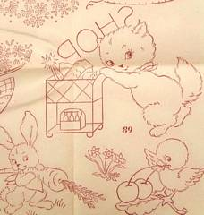 Vintage Workbasket Red Transfer Pattern Kittens Days of Week