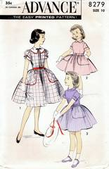 1950's Advance 8279 Girls Full-Skirted Dress Pattern Size 10