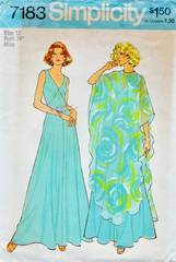 1970's Simplicity 7183 V-Neckline Gown and Float Pattern B34