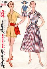 50's Vtg Simplicity 4340 Casual Blouse, Skirt, Shorts Pattern