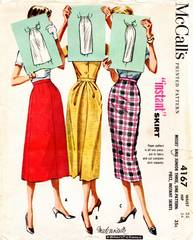 50's Vintage McCall's 4167 Skirt in 3 Styles Pattern Waist 25