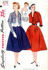 1950's Simplicity 3793 Striking Bolero Suit and Bodice Pattern