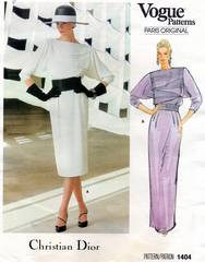 Christian Dior Vogue 1404 Dramatic Front Tuck Dress Pattern B34