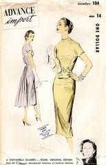 1950's Advance 104 Giovanelli Sciarro Dramatic Dress Pattern B32