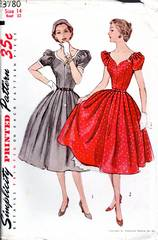 1950's Simplicity Sweetheart Dress and Petticoat Pattern Bust 32