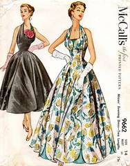 1950's Vintage McCall's 9662 Halter Petal Evening Gown Pattern